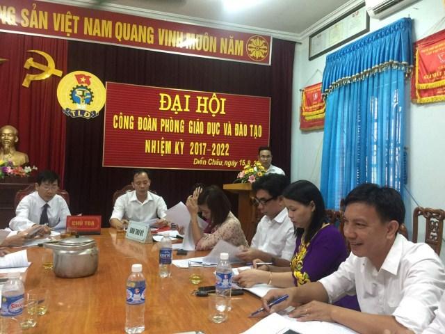 Công đoàn cơ quan Phòng Giáo dục và Đào tạo huyện Diễn Châu tổ chức Đại hội nhiệm kì 2017-2022